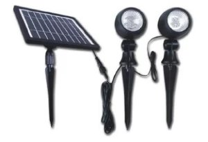 Luminária Solar Com Spot Duplo Direcionável Lidled Jardim Iluminação Externa