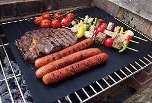 KIT 5pç Manta Grill 40x33cm Anti Aderente De Teflon Para Carnes Lanches Kit Churrasco