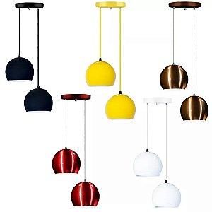 Lustre Luminária Pendente De Teto Mesa Cozinha Sala Quarto Meia Bola Duplo 14cm E27 Aluminio