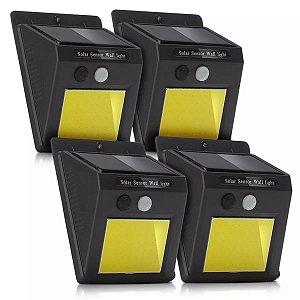 Kit 4 Luminárias Solar COB LED Parede Sensor Presença 48 Leds Potente