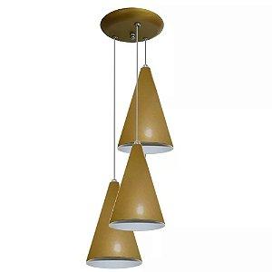 Lustres Luminárias Pendentes Forma Cone TRIPLO Para Mesa Sala Quarto Cozinha