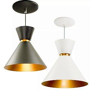 Kit 2 Pendentes Lustre Luminaria De Teto Mesa Berlin Alumínio 23cm Balcão Sala Cozinha