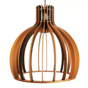 Lustre Luminária Pendente Cor Madeira C/ Soquete E-27 De 35cm Teto Mesa Sala Cozinha