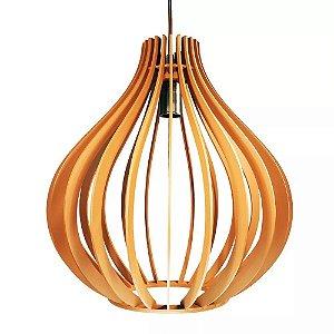 Luminaria Pendente De Madeira Gota 35cm Com Soquete E-27 Teto Mesa Sala Cozinha