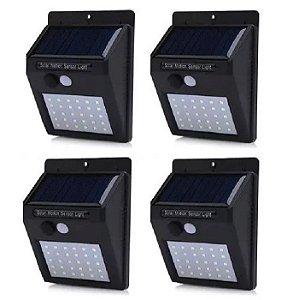 Kit 4 Luminária Luz Energia Solar Led 30 Balizador Parede Muro Jardim Sensor De Presença