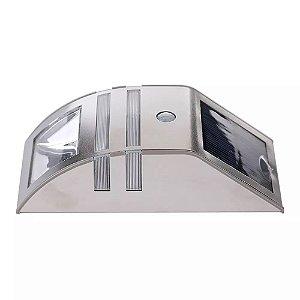 Luminaria Luz Energia Solar Branco Frio De Parede Muro Jardim Material Inox Sensor De Movimento