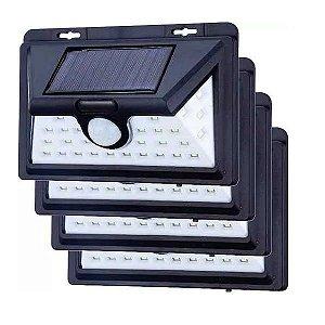 Kit 4 Luminária Balizador Solar De Parede Muro 32 Led Sensor Movimento Externa