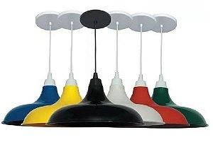 Pendentes Kit 3  Luminarias Mod Prato Colorido Lustre De Teto Mesa Sala Cozinha Balcão