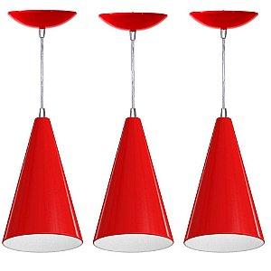 Kit 3 Pendentes Cone Alumínio Coloridos Lustre Luminaria De Teto Mesa Sala Cozinha