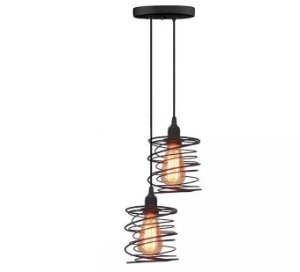 Pendente Mola Duplo + 2 Lampadas Filamento Led Vintage Luminaria Lustre Teto Mesa Sala Cozinha