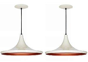 Kit 2 Luminárias Pendente Lustre Preto Branco E Cobre Mod Chapéu De Teto Mesa Sala Cozinha