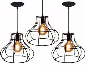 Pendente Lustre Luminária Aramado Rustico Retrô Mod Balão De Teto Mesa Sala Cozinha