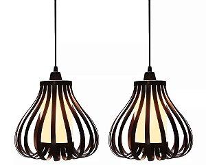 kit 2 Pendentes Lampião Rustico Retrô Vintage Lustre Luminaria Teto Mesa Sala Cozinha