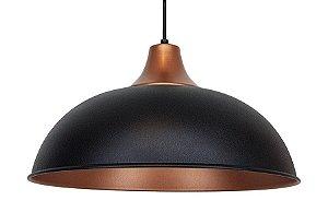 Luminaria Lustre Pendente Cor Preto E Cobre Mod Meia Lua Bola De Teto Mesa Cozinha Sala