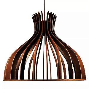 Lustre Luminária Pendente De Madeira Soquete E-27 40x35cm Balão De Teto Mesa Sala Cozinha