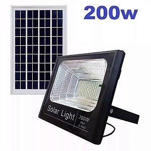 Refletor Solar Luminária Ultra Led 200W Com Controle + Placa + Holofote
