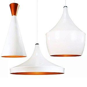 Kit 3 Pendentes Dixon De Alumínio Branco E Cobre - Lustre Luminária Teto Mesa Cozinha Sala