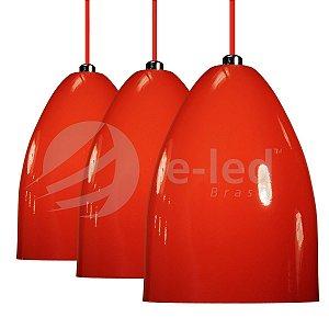 3 Pendentes Luminarias Cone Alumínio Vermelho Lustres Teto Mesa Sala Cozinha