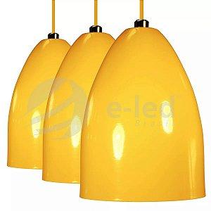 Kit 3 Luminarias Pendentes Alumínio Cone Amarelo Lustres Teto Mesa Sala Cozinha