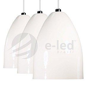 Jogo 3 Pendentes Branco Formato Cone Alumínio - Lustre Luminária Teto Mesa Sala Cozinha
