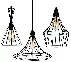 3 Pendentes Aramado Tom Dixon Cor Cobre Vintage - Lustres Luminárias Teto Mesa Ambientes
