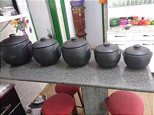 Kit 5 Caldeirões De Barro Para Feijoada Numero 1,2,3,4 E 5