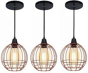 3 Pendentes Lustre Luminária Modelo Aramado Curve Cores Preto E Cobre Soquete E27