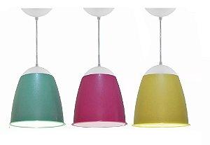 Lustre Luminária Kit 3 Pendentes Coloridos Mod Taça 20cm Quarto Sala Cozinha