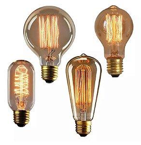 Lâmpada De Filamento De Carbono Vintage Retrô Industrial - Estilo Thomas Edison 110V ou 220V