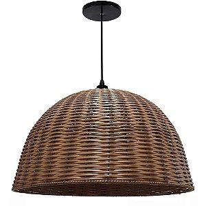Lustre Luminária Pendente Junco Sintético Taça Rústico 55cm Sala Quarto Cozinha