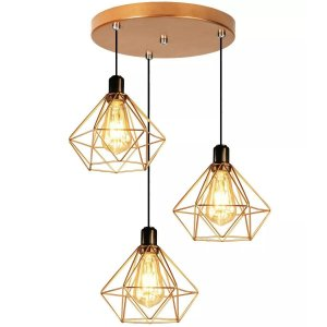 Kit Lustres 3 Pendentes Aramado Diamante Cobre - Luminarias Teto Mesa Sala Cozinha