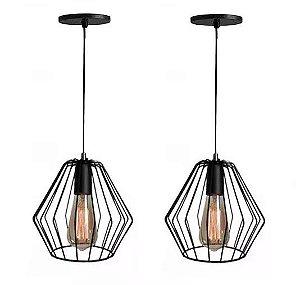 KIT Lustre 2 Pendentes Aramados Nordic Luminárias Retro Vintage + Lampadas Led
