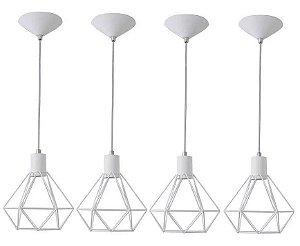 Kit 4 Lustres Pendente Luminaria Aramado Diamante Cor Branco E27
