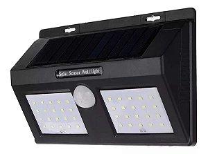 Luminária Solar Balizadora De Parede Com Sensor De Movimento Painel Duplo