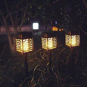 Kit 3 Luminária Solar Led Iluminação Jardim Modelo Tocha Fogo Quadrada
