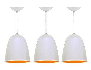 Lustre Luminária Kit 3 Pendentes De Teto Taça 20cm Branco - Sala Cozinha Quarto