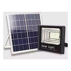 Luminária Refletor Holofote Solar 25w Leds Placa Fotovoltáica E Controle