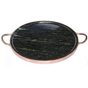 Forma De Pizza De Pedra Sabão Para Forno 37cm - Curada - Alça De Cobre