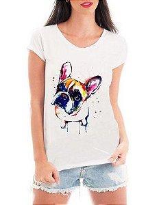 4f4794658 Camiseta Feminina Tshirt Blusa Feminina Bulldog Watercolor - Personalizada   Estampadas  Camiseteria  Estamparia