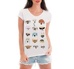 28006a0f4485f Blusa Feminina Dog Glasses Divertidos Blusa Branca - Personalizadas   Customizadas  Estampadas  Camiseteria