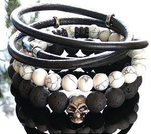 Trio de pulseiras Pedra Vulcânica, Pedra Howlita Branca e Cordão de Couro