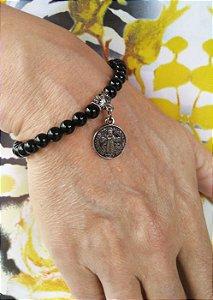 Pulseira Murano fosco com medalha São Bento