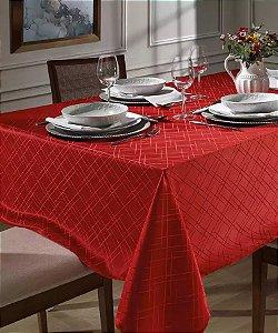 Toalha de Mesa Festa Natal Retangular 6 Lugares Requinte II Dohler Vermelho