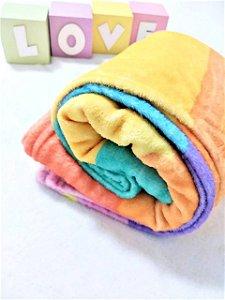 Manta Baby Confort Microfibra Estampada 90cm x 1,20m Arco-íris