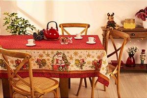 Toalha de Mesa de Natal Quadrada 4 Lugares Lepper Noite Feliz
