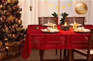 Toalha de Mesa de Natal Rendada Retangular 06 Lugares Lepper Vermelha