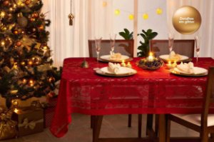 Toalha de Mesa de Natal Rendada Retangular 10 Lugares Lepper Vermelha