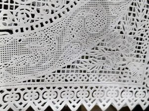 Jogo de Toalhas Plásticas Rendadas para Geladeira 03 peças [Branco]