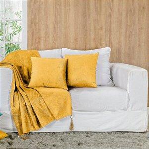 Xale para Sofá Glamour com Pedraria  05 peças Amarelo