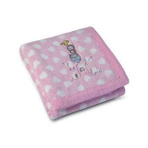 Manta Baby Fleece Estampada com Bordado Lepper [Rosa]